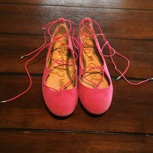 Sam Edelman Pink Lace Up Flats Ankle Wrap Size 7